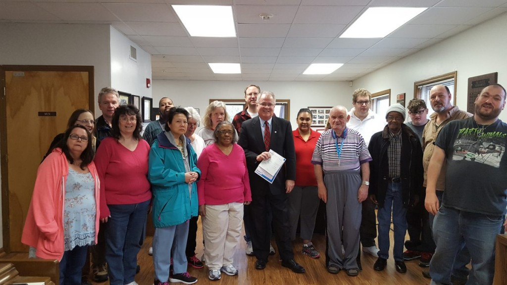 We received a grant from Peoples Bank and Gary Kuntz, the Branch Manager brought the check to the Castle and had lunch with the members on Friday, April 8th.